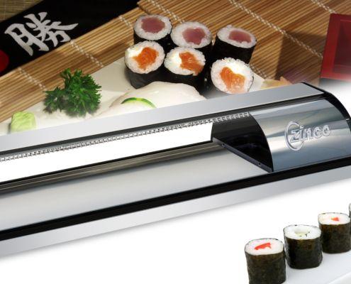 vitrina sushi zinco granita NSF UL acero inox
